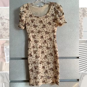 Beige Lace bodycon mini dress